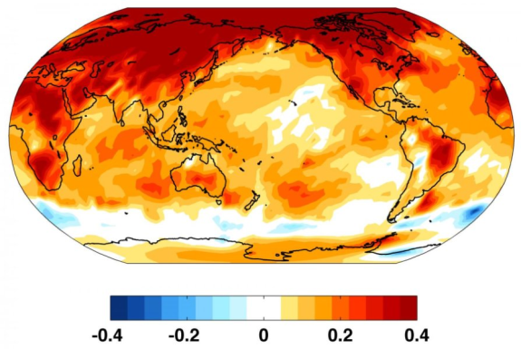 aquecimento observado nos últimos 50 anos (em graus Celsius por década) mostra rápido aquecimento no Ártico, enquanto o Oceano Antártico ao redor da Antártida aqueceu pouco, se em tudo. Crédito: K. Armour / UW