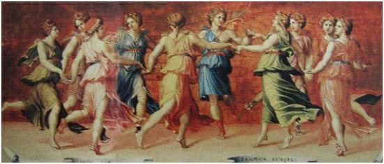 Mnemosine—a deusa de memória, era filha de Géia e Urano. Tendo se unido a Zeus gerou nove filhas: as Musas. Hesíodo pastoreava sozinho seus rebanhos no onte Hélicon quando as Musas se dirigiram a ele e lhe disseram que sabiam mentir e revelar a verdade. Deram-lhe um ramo de loureiro e iniciaram-no como poeta. Em vista disso, ele contou-nos as origens ancestrais dos deuses.