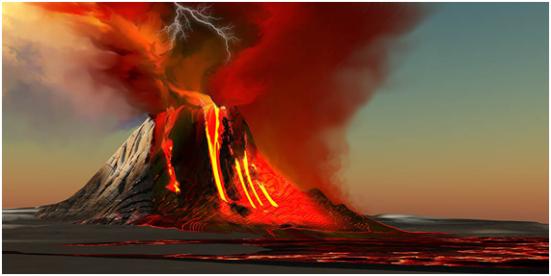 Representação do Hadeano (entre 4,57 e 3,58 bilhões de anos).