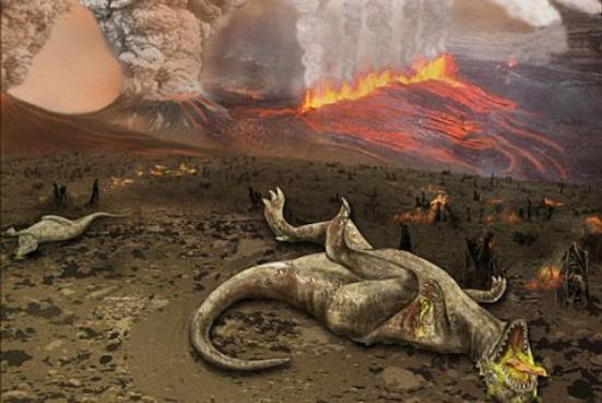 rendição do artista de um dinossauro derrubado pelo Credit atividade vulcânica: Imagem por pelo National Science Foundation, Zina Deretsky. domínio público através de Wikimedia Commons