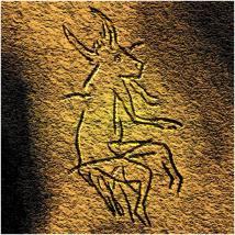 Imagem de uma metade animal meio-humano em uma pintura rupestre paleolítica em Dordogne, França. Alguns paleantropólos propõe que a representação de figuras híbridas sejam evidência de práticas xamânicas primitivas no Paleolítico. Para XXXX a religiao surgiu entre 35 e 40 mil anos.