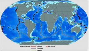 Mais de 200 campos hidrotermais têm sido observadas até agora, e pode haver mais de mil restantes para ser descoberto, principalmente ao longo dos limites de placas da Terra. Rochas quentes ou fundidas (magma) abaixo do fundo do oceano é o motor que impulsiona as fontes hidrotermais. Aquece-se os fluidos hidrotermais, fazendo com que eles se movem para cima através da crosta. Portanto, as fontes hidrotermais são encontrados apenas em áreas onde há atividade vulcânica e o magma está perto o suficiente para a superfície para aquecer os fluidos. A maioria das aberturas cientistas descobriram estão ao longo da Mid-Ocean Ridge. Há aberturas no Lō'ihi, o mais novo vulcão submarino na cadeia Hawaii. Vents também são encontrados ao longo de algumas zonas de subducção. Vents pode ocorrer em qualquer profundidade. Alguns são tão profundo como 3.600 metros. Outros largo da costa da Nova Zelândia são apenas 30 metros de profundidade. Vents também são encontrados em terra. Dois dos exemplos mais famosos são as fontes termais e gêiseres em Yellowstone National Park, nos Estados Unidos e na Ilha Norte da Nova Zelândia. Fontes de dados Mapa: InterRidge Vents Banco de Dados; ETOPO1, NOAA NGDC; Universidade do Texas PLACAS Projeto; Créditos: Stace Beaulieu, Michael Lowe, Erin Labrecque, e Katherine Joyce (WHOI); Financiamento: NSF GEO # 1202977