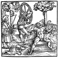 Com os membros presos em uma roda de madeira, as pessoas viam seus braços e pernas serem atingidos pelos torturadores com grandes martelos de metal. Depois disso, eram pendurados – ainda na roda – em praça pública, para que animais se alimentassem das vítimas vivas.