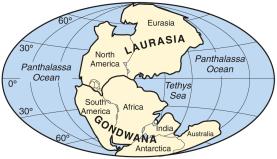 Disposição dos continentes a cerca de 200 milhões de anos.