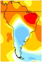 Recorte da america do sul onde nota-se a baixa temperatura do mês de maio no Brasil.