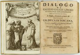 Dialogo sopra i due massimi sistemi del mondo (Diálogo sobre os dois principais sistemas do mundo), que foi lançado em 1632. Clique para ampliar