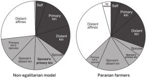 padrões de co-residência em toda a populações não-igualitárias modelados e observados. área do gráfico representa a proporção de todas as duplas em nove categorias de parentesco para o modelo não-igualitária (esquerda) e Paranan (direita).