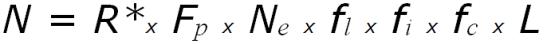 """N = número de civilizações comunicativas; R* = a taxa de formação de estrelas adequadas (estrelas como o nosso Sol); fp = A fração dessas estrelas com planetas (evidências atuais; indicam que sistemas planetários podem ser comuns para estrelas como o Sol); ne = O número de mundos do tamanho da Terra por sistema planetário: fl = A fração desses planetas do tamanho da Terra onde a vida realmente desenvolve; fi = A percentagem de pontos de vida onde a inteligência se desenvolve; fc = A fração de planetas comunicativas (aqueles em que a tecnologia de comunicações eletromagnéticas se desenvolve); e L = A """"vida"""" de civilizações comunicantes."""