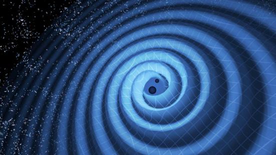 Concepção artística da fusão de 2 buracos negros e ondas gravitacionais. Ilustração do LIGO em referencia ao sinal GW151226