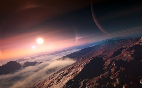 Impressão de artista da superfície de um planeta extrasolar (Wikimedia Commons)