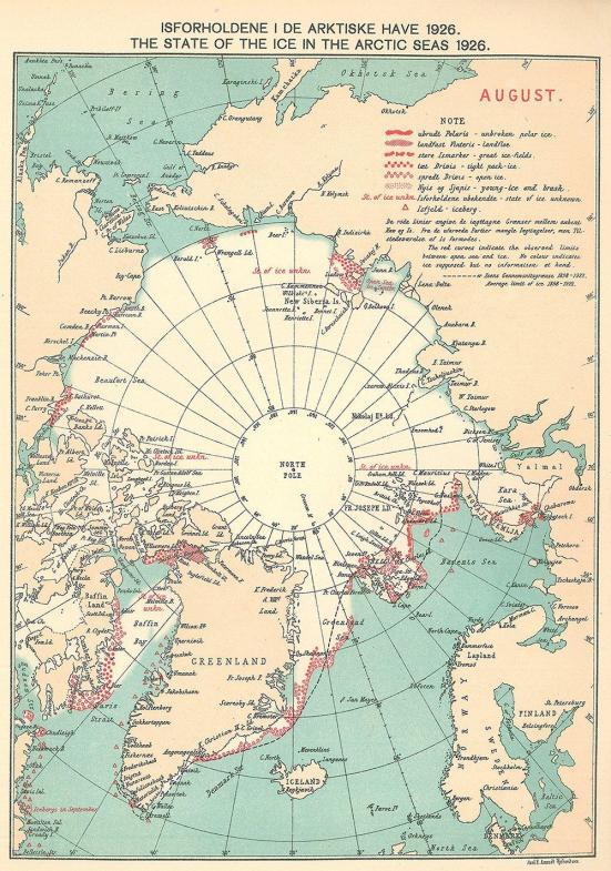 Um gráfico de gelo dinamarquesa Meteorological Institute for de agosto de 1926. Os símbolos vermelhos marcar a localização de observações registradas em livros de registro de navios. Ilustração: Walsh et al. (2016).