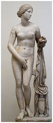 Afrodite cobrindo o púbis nua com a mão direita
