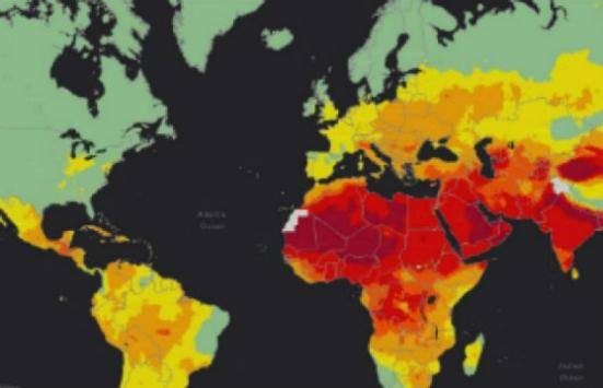Este mapa de calor OMS mostra o mais baixo (verde) níveis de poluição do ar em todo o mundo mais alto (vermelho) e. Cortesia da imagem da Organização Mundial da Saúde: Crédito