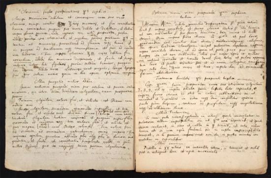 Uma receita para um ingrediente para fazer uma pedra filosofal manuscrita por Isaac Newton. (Chemical Heritage Foundation)