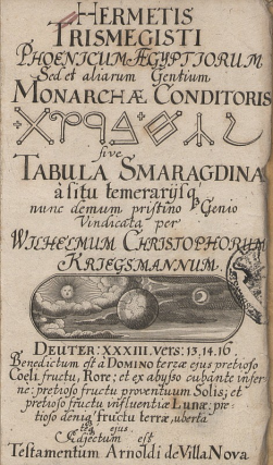Edição do século XVII da Tábua de esmeralda, livro chave da alquimia ocidental. A Tábua de Esmeralda (ou Tábua Esmeraldina) é o texto escrito por Hermes Trismegisto que deu origem à Alquimia.