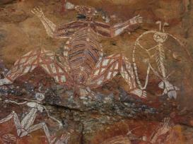 Arte aborígene da rocha em Ubirr em Kakadu National Park. (Witte-art_de via iStock)