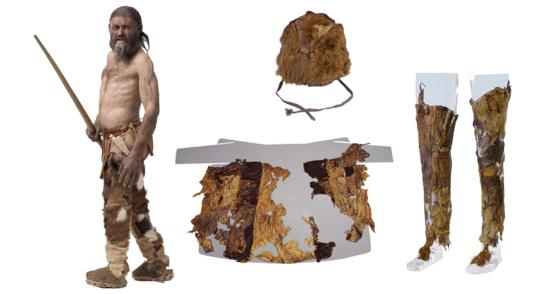 Moda Antiga - a evidência genética indica que ötzi o iceman (a reconstrução de um artista, esquerda) usou um chapéu de pele de urso-marrom (centro superior) e um revestimento feito das peles da cabra e da ovelha (centro da parte inferior). As calças do homem da idade do cobre (direita) igualmente consistiram da pele da cabra, dizem os investigadores. Ochsenreiter/Museu de Arqueologia do sul do Tirol, Instituto Mummies and The Iceman