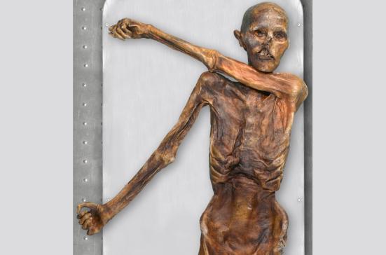 Ötzi preservado da forma como foi encontrado. Fonte: Discover magazine