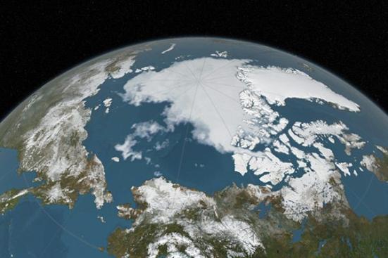 O gelo marinho do Ártico (branco) atinge um mínimo em setembro Estúdio de Visualização Científica da NASA