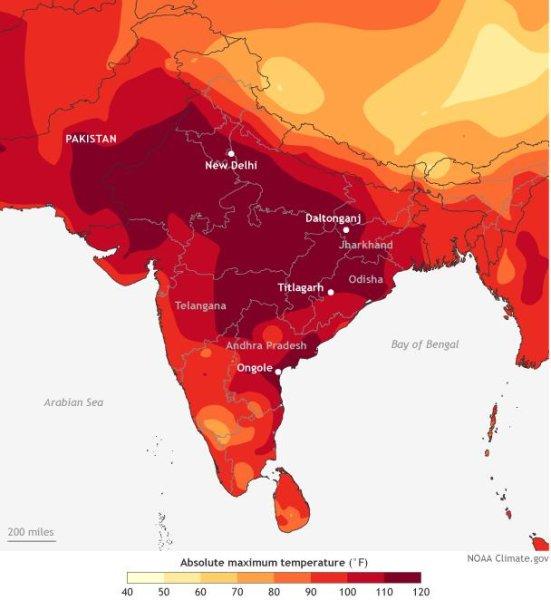 As temperaturas mais altas durante o dia na Índia durante a semana de 24 a 30 de maio de 2015. Mapa NOAA Climate.gov baseado em dados da estação meteorológica interpolados fornecidos pelo Departamento de Metrologia da Índia. Crédito: NOAA