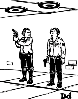 """""""Aqui é onde praticamos nossos tiros de advertência."""""""
