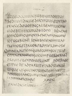 Codex Bobbiensis no trecho de Marcos 16. Este Codex contém partes do Evangelho de Marcos e o Evangelho de Mateus Um estudo paleográfico do texto determinou que ele é uma cópia de um papiro do século II.