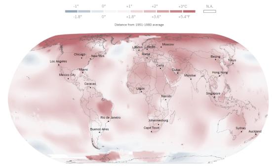 2016 foi a primeira vez que o ano mais quente já registrado ocorreu três vezes seguidas.. 2016 NASA GISTEMP. Anormalidade de temperatura espacial.