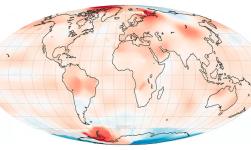 As temperaturas da superfície global em julho de 2016 de acordo com o Goddard Institute for Space Studies da NASA (GISS). A Terra não aquece uniformemente; Algumas regiões estão aquecendo mais rapidamente do que outras. Fotografia: GISS / NASA