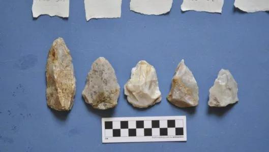 Estas pontas de agulha Mousteriana, um tipo de ferramenta Neanderthal clássico, foram escavadas do sítio arqueológico Stelida na ilha grega de Naxos por uma equipe co-dirigida por Tristan Carter da Universidade McMaster. O local de Stelida é crítico a resolver uma controvérsia principal sobre se Neanderthals e outros hominins eram capazes de voyaging pelo mar. (PROJETO ARQUEOLÓGICO DE STELIDA NAXOS)