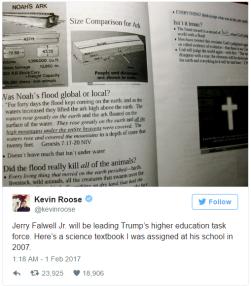 Jerry Falwell Jr. estará liderando a força-tarefa de educação superior de Trump. Aqui está um livro de ciência que eu fui designado em sua escola em 2007.