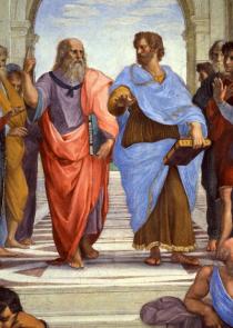 """Escola de Atenas"""" de Rafael Sanzio em que Platão aponta o dedo para cima e Aristóteles aponta a mão para baixo."""