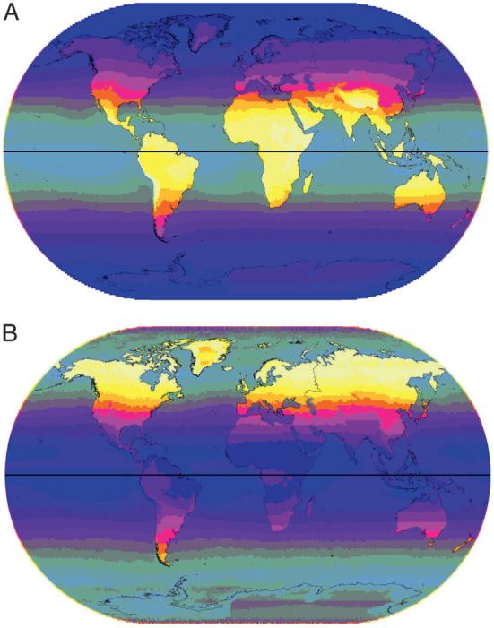 (A) UVB média anual (305 nm). A intensidade é indicada por gradações de escuras a claras variando de 1 a 135 J · m-2 em 10 etapas com oceanos parcialmente esmaecidos. (B) CoV anual para UVB (305 nm). Gradações de escuridão a luz variando de 10 a 300 em 10 etapas, com área do oceano parcialmente cinza-out.