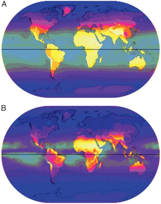 (A) Média anual UVA (380 nm). A intensidade é indicada por gradações da escuridão para a luz variando de 65 a 930 J · m-2 em 10 etapas com oceanos parcialmente esmaecidos. (B) CoV anual para UVA (380 nm). Gradações de escuridão a luz variando de 1 a 13 em 10 etapas, com área do oceano parcialmente cinza.